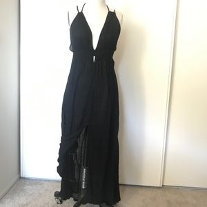 Astr Sexy Black Beach Maxi Dress